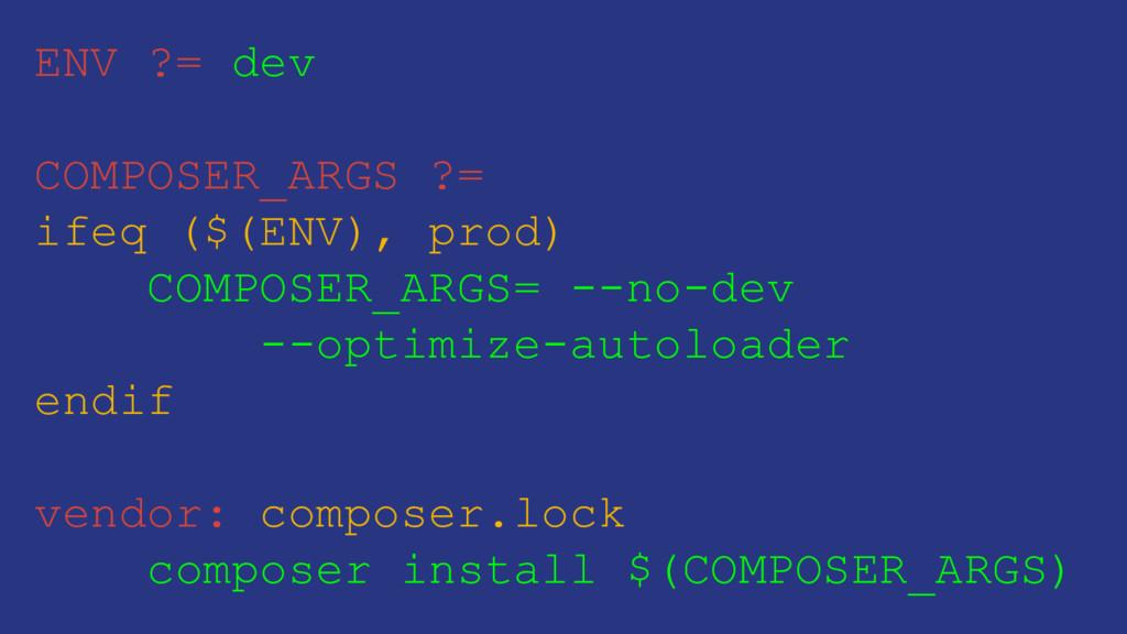 ENV ?= dev COMPOSER_ARGS ?= ifeq ($(ENV), prod)...