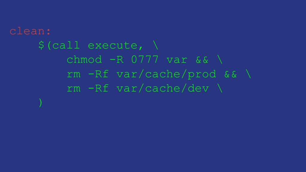 clean: $(call execute, \ chmod -R 0777 var && \...