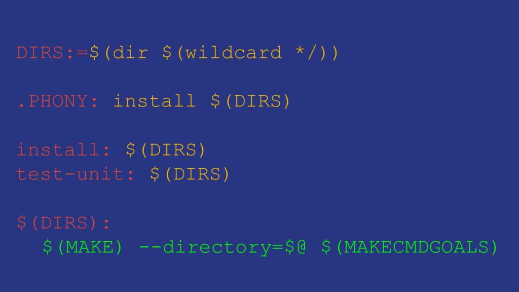 DIRS:=$(dir $(wildcard */)) .PHONY: install $(D...