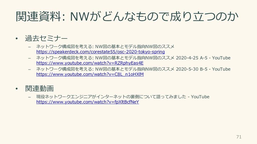 関連資料: NWがどんなもので成り立つのか • 過去セミナー – ネットワーク構成図を考える:...