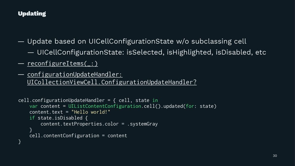 Updating — Update based on UICellConfigurationSt...