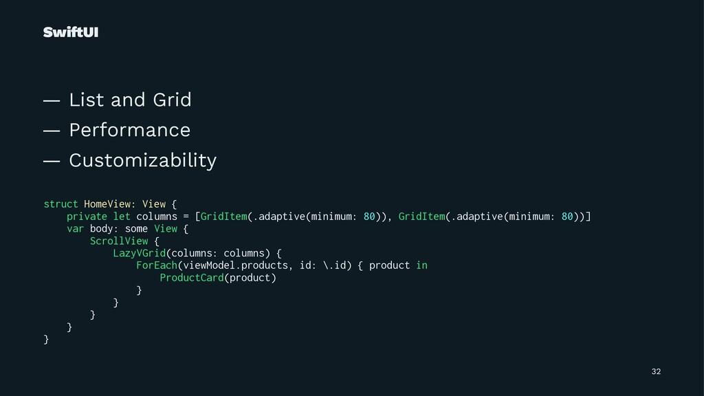 Swi!UI — List and Grid — Performance — Customiz...