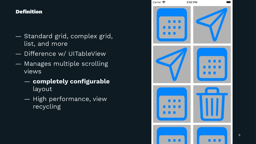 Definition — Standard grid, complex grid, list, ...