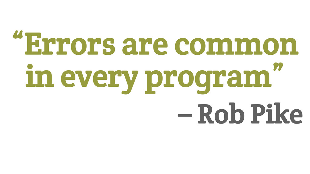 """Errors are common in every program"" 