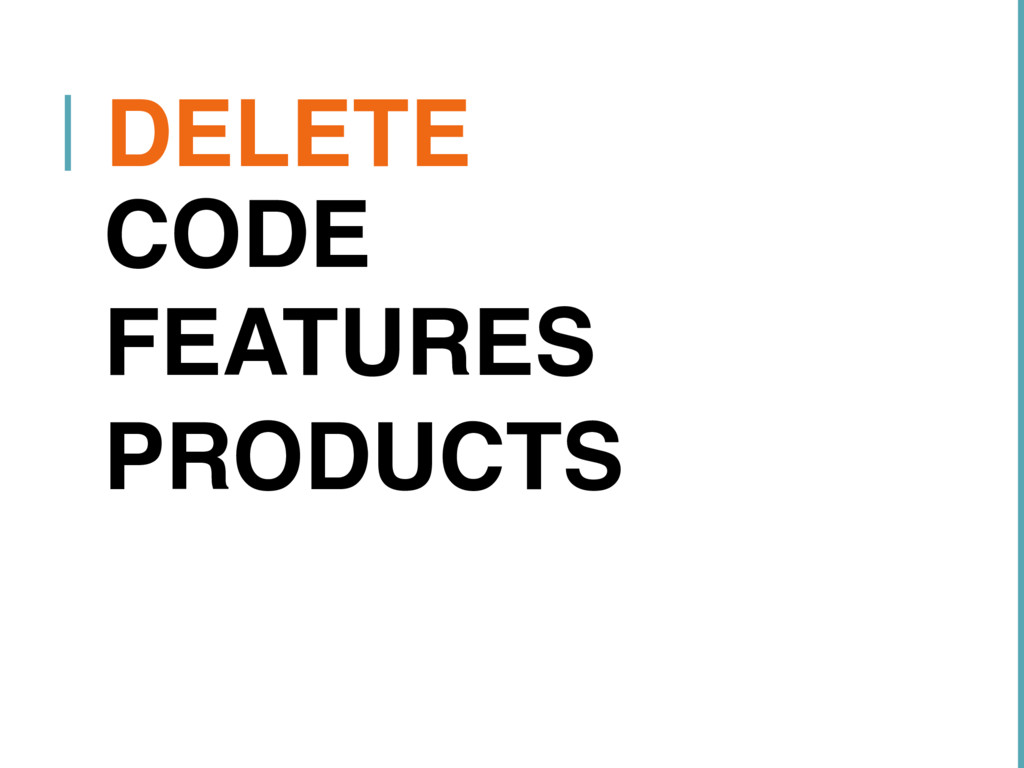 DELETE CODE FEATURES PRODUCTS