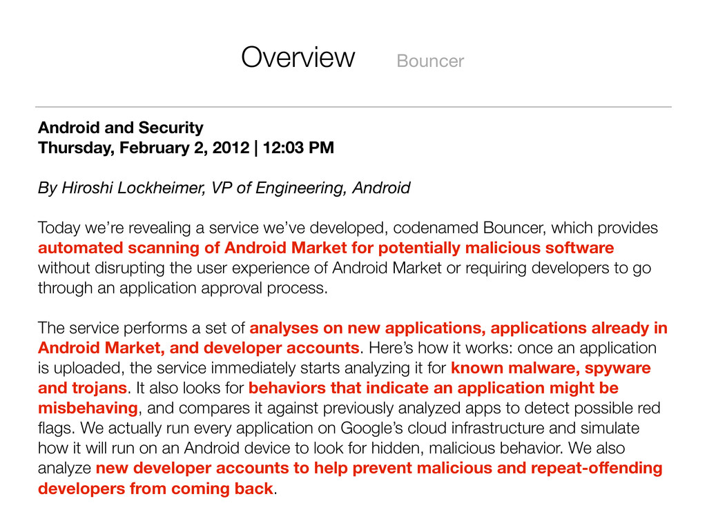 Overview Bouncer Android and Security Thursday,...