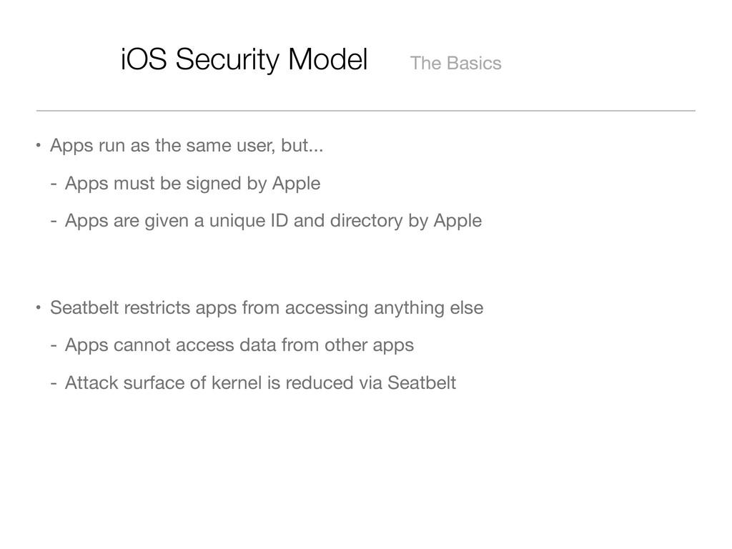 iOS Security Model The Basics The Basics • Apps...