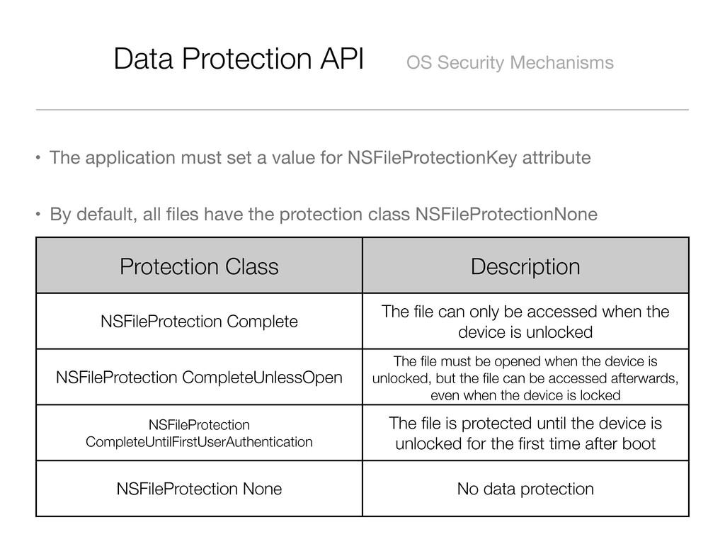 Data Protection API OS Security Mechanisms • Th...