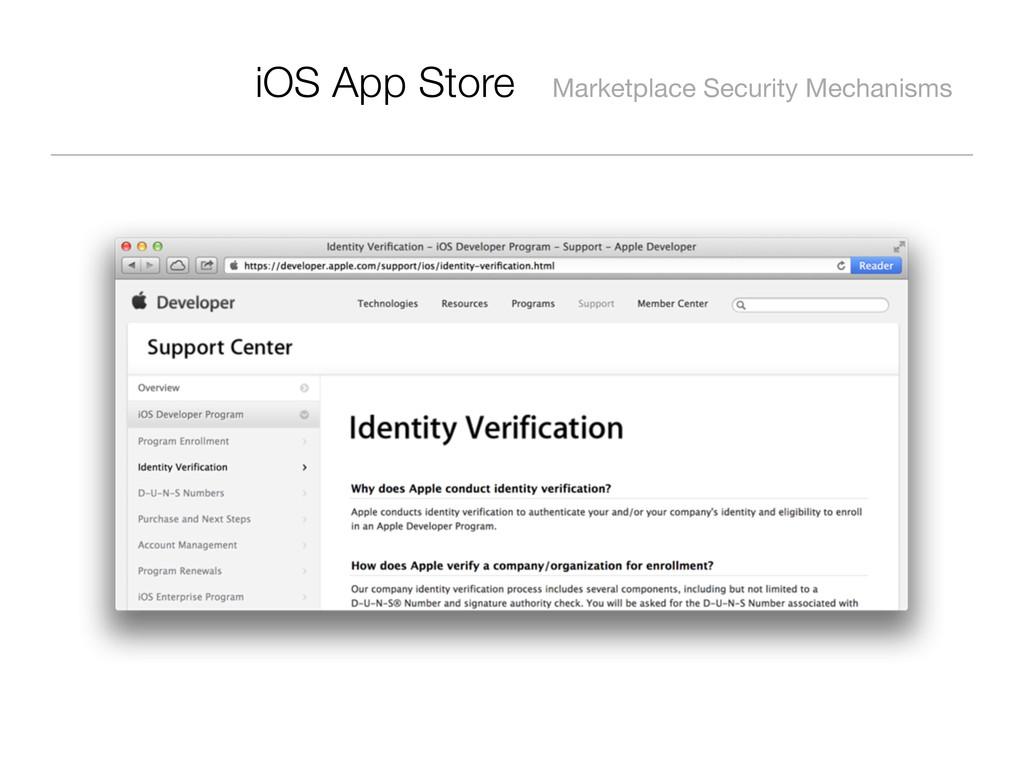 iOS App Store Marketplace Security Mechanisms