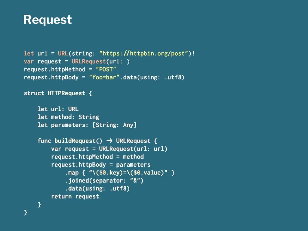 """Request let url = URL(string: """"https:!""""httpbin...."""