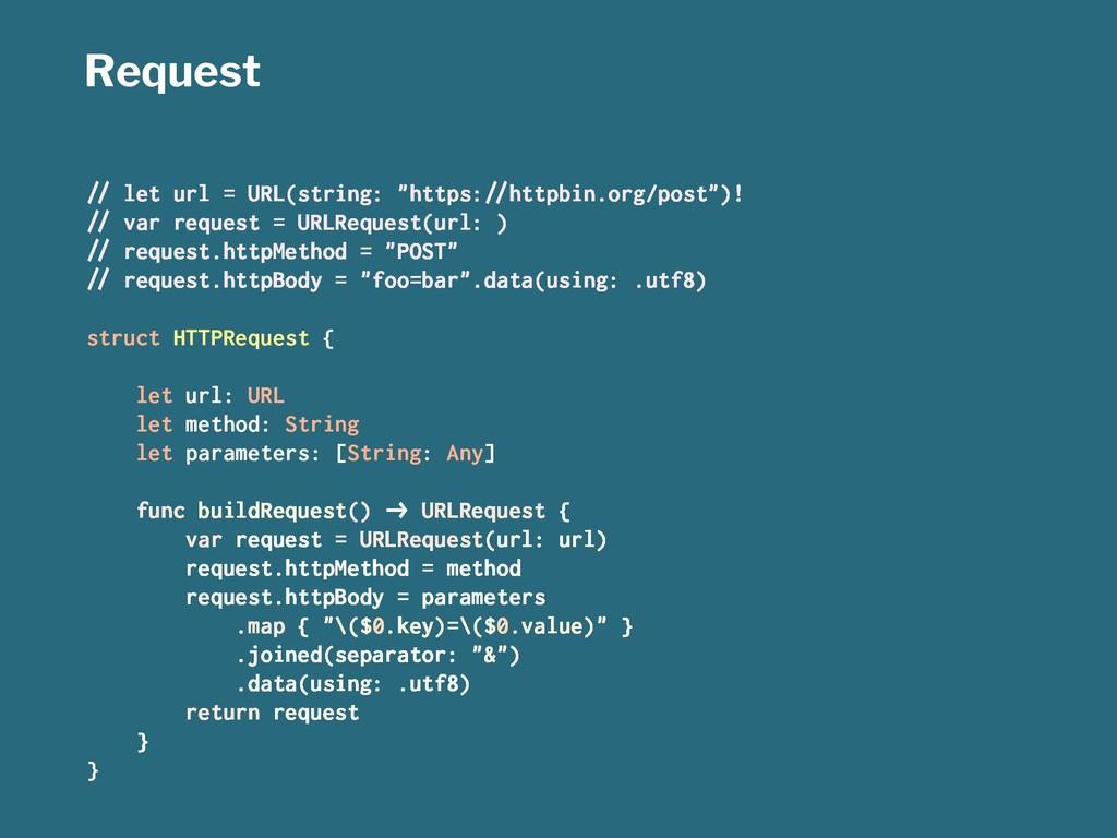 "Request !"" let url = URL(string: ""https:!""httpb..."
