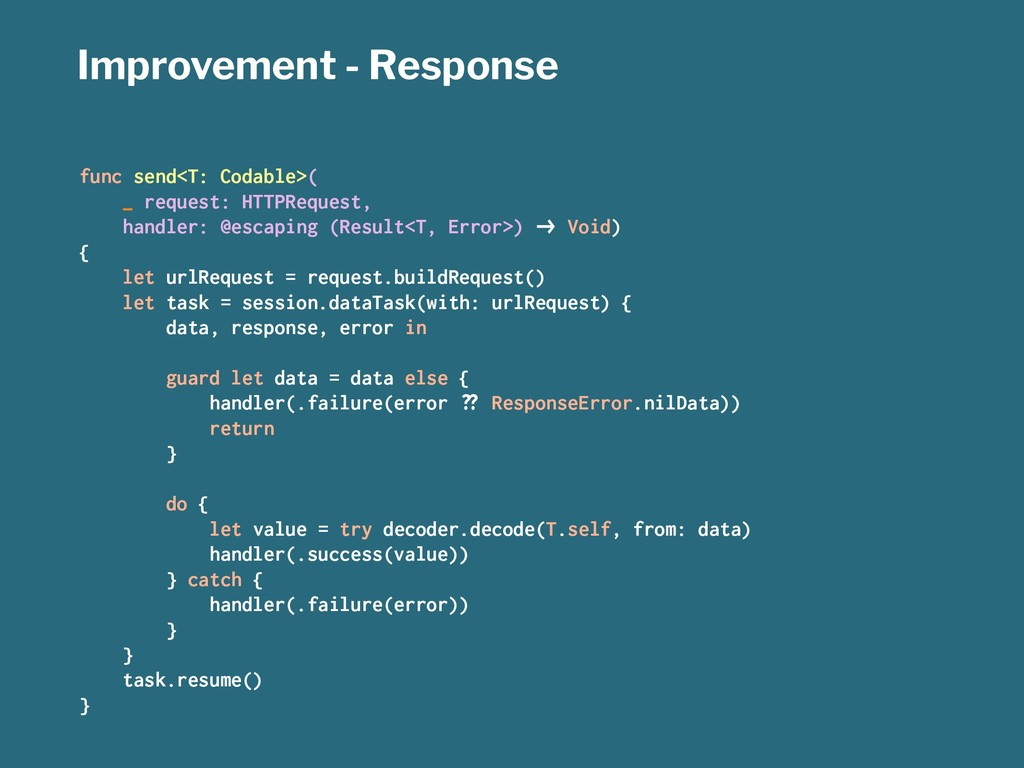 Improvement - Response func send<T: Codable>( _...