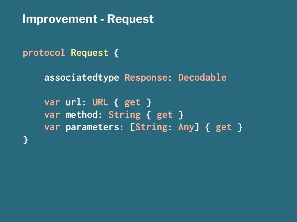 Improvement - Request protocol Request { associ...