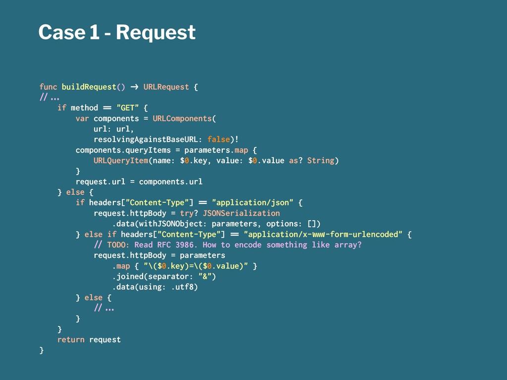"""Case 1 - Request func buildRequest() !"""" URLRequ..."""