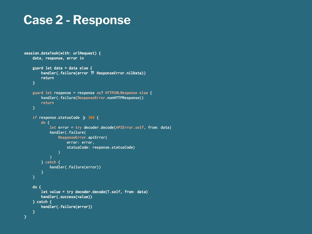 Case 2 - Response session.dataTask(with: urlReq...