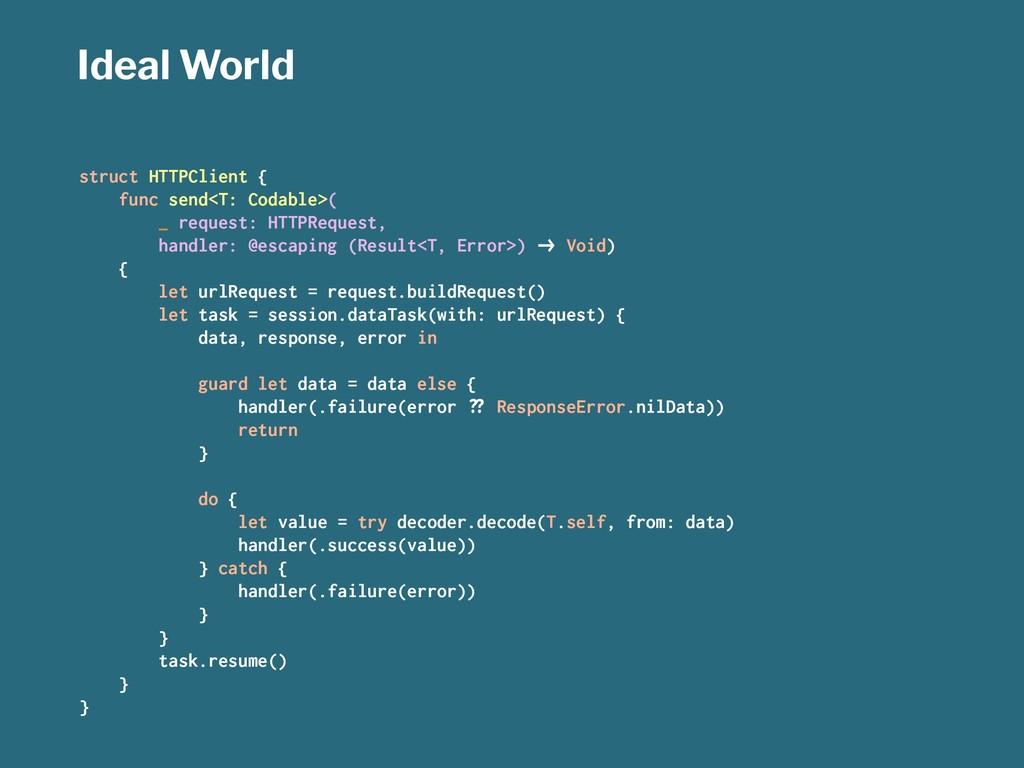Ideal World struct HTTPClient { func send<T: Co...