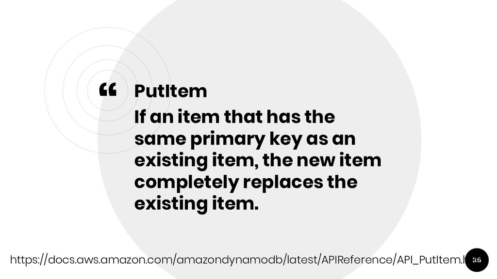 """"""" PutItem If an item that has the same primary ..."""