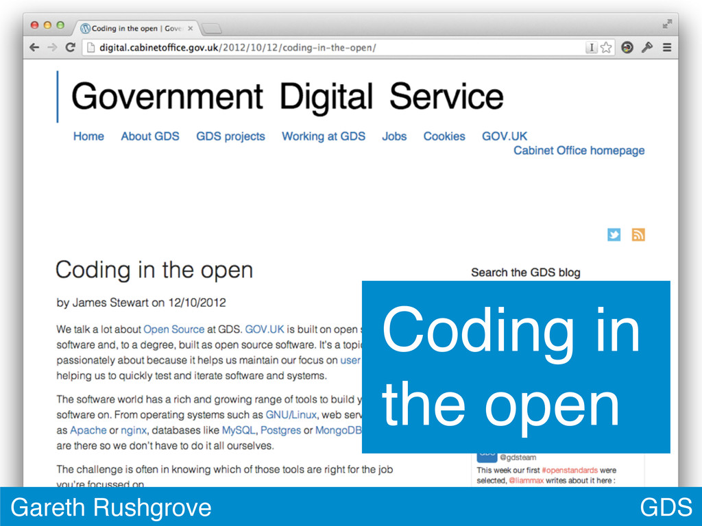 GDS Gareth Rushgrove Coding in the open