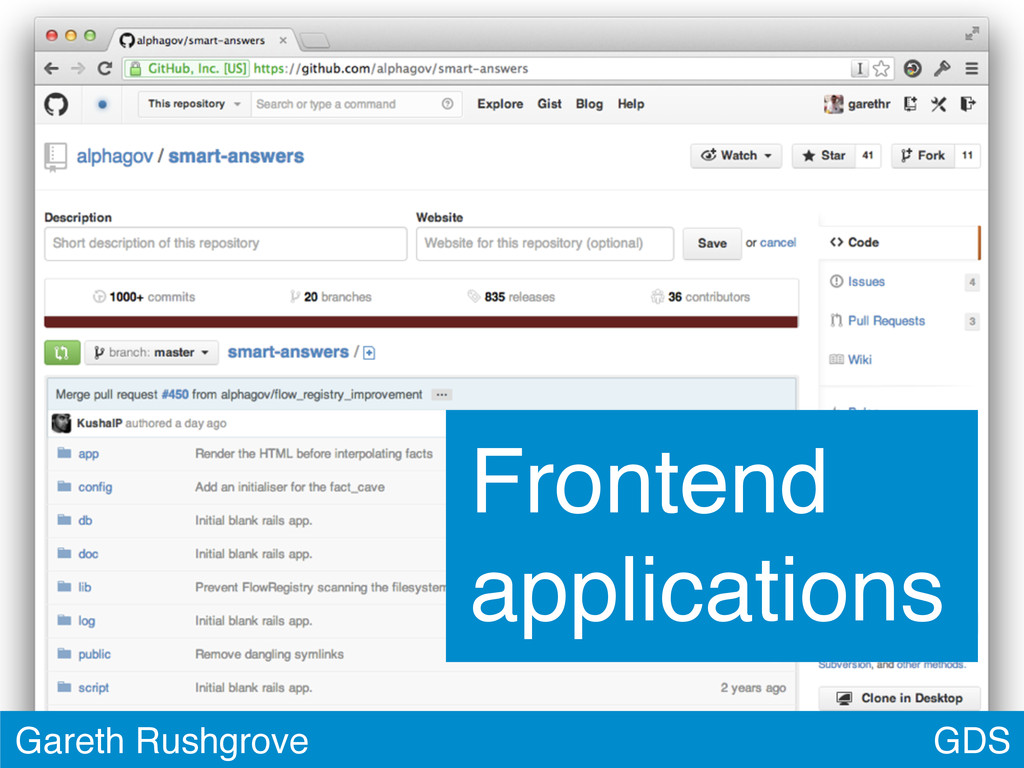 GDS Gareth Rushgrove Frontend applications