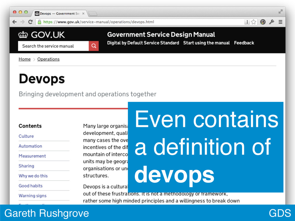 GDS Gareth Rushgrove Even contains a definition ...