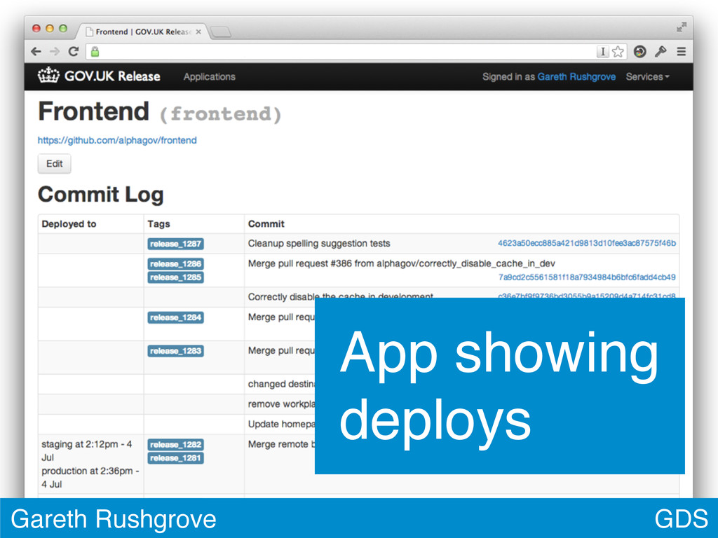 GDS Gareth Rushgrove App showing deploys