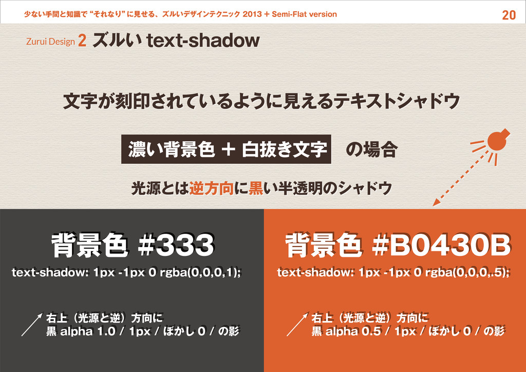 """20 少ない手間と知識で""""それなり"""" に見せる、ズルいデザインテクニック 2013 + Sem..."""