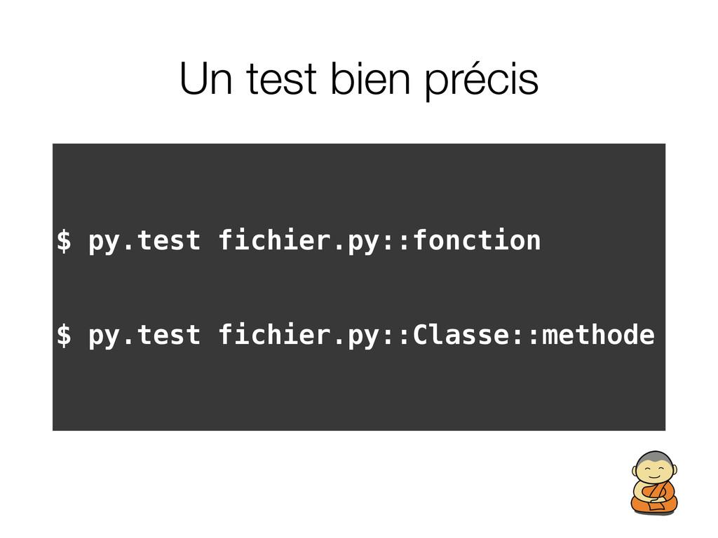 Un test bien précis $ py.test fichier.py::fonct...