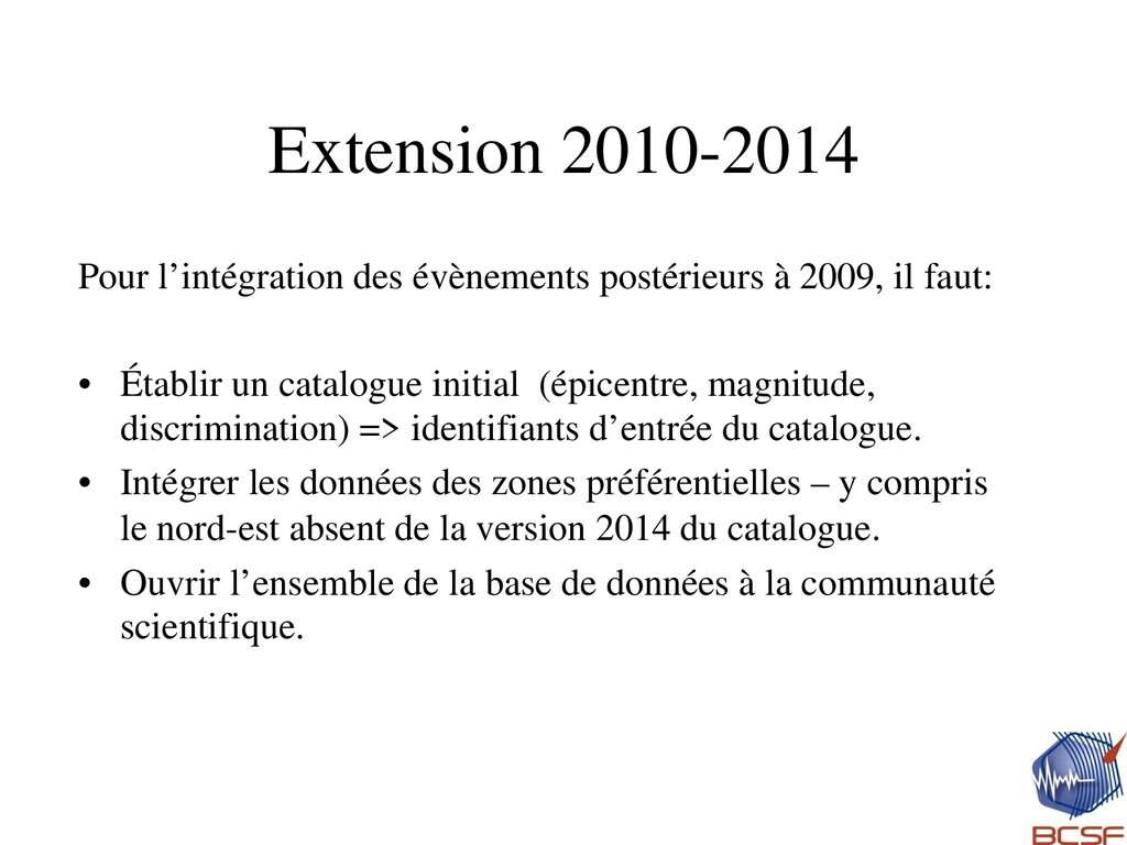 Extension 2010-2014 Pour l'intégration des évèn...