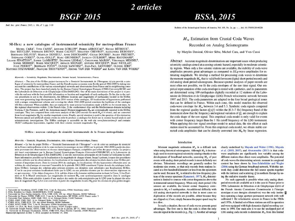 2 articles BSGF, 2015 BSSA, 2015