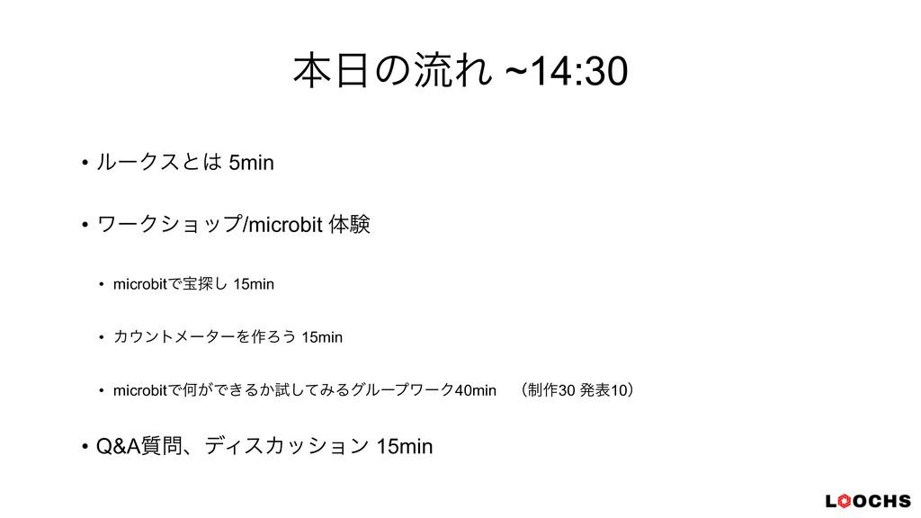 ຊͷྲྀΕ ~14:30 • ϧʔΫεͱ 5min   • ϫʔΫγϣοϓ/microbit...