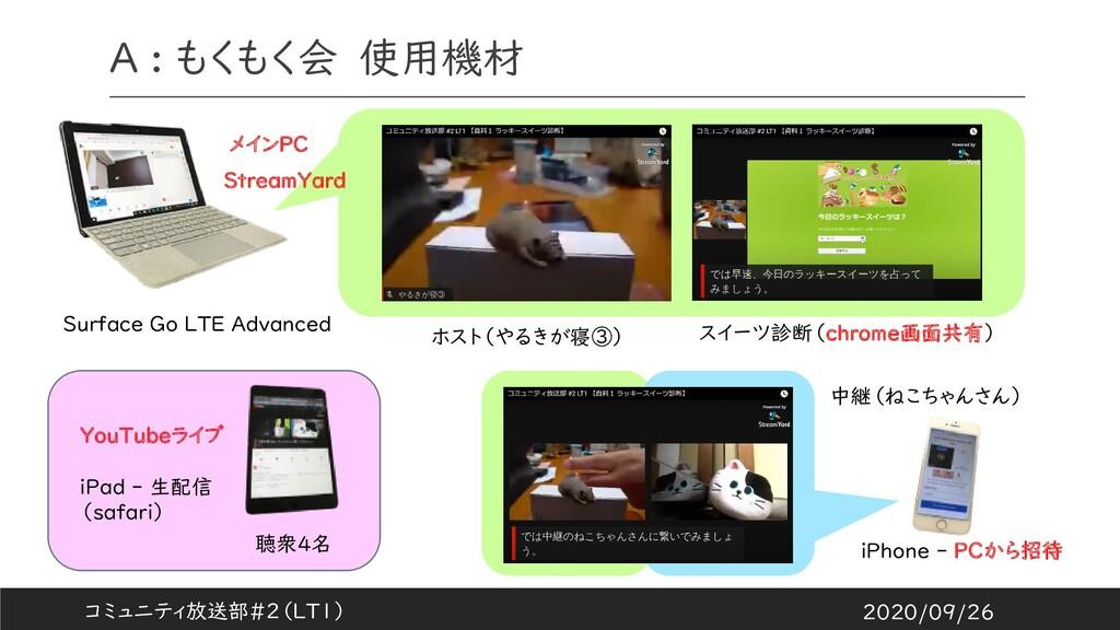 A : もくもく会 使用機材 聴衆4名 ホスト(やるきが寝③) iPhone - PCから招待...