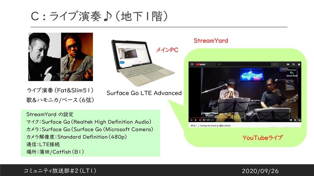 C : ライブ演奏♪(地下1階) ライブ演奏(Fat&Slim51) 歌&ハモニカ/ベース(6...