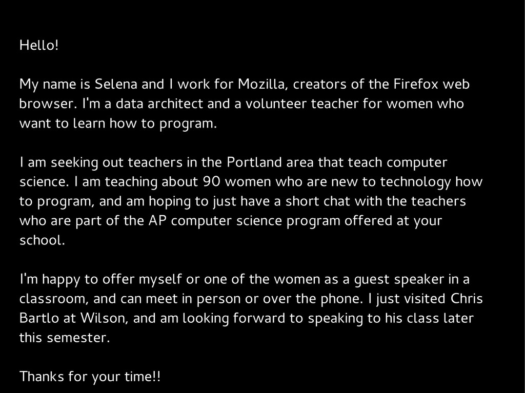 Hello! My name is Selena and I work for Mozilla...