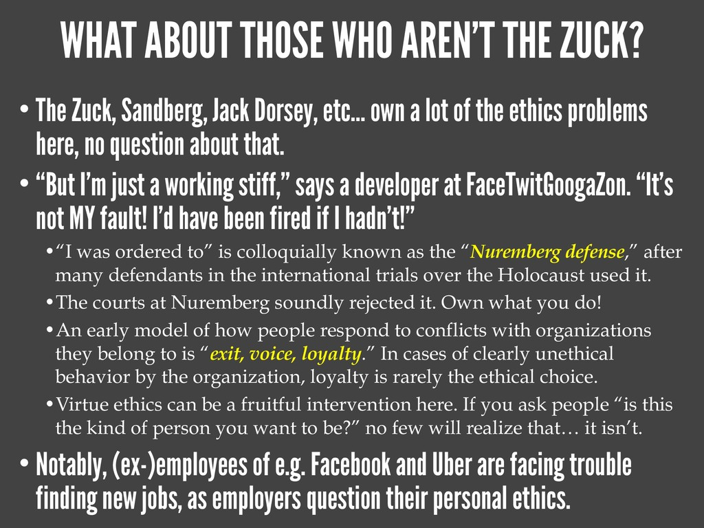WHAT ABOUT THOSE WHO AREN'T THE ZUCK? • The Zuc...