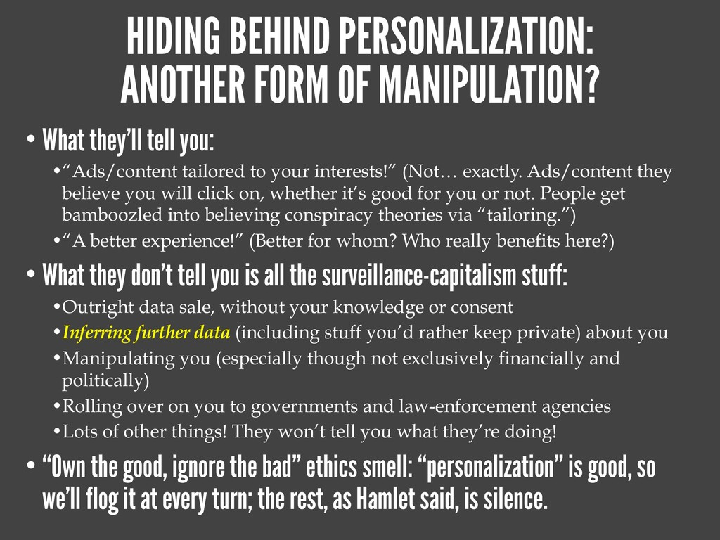 HIDING BEHIND PERSONALIZATION: ANOTHER FORM OF ...