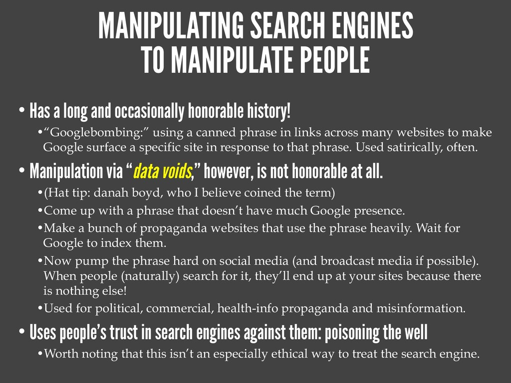 MANIPULATING SEARCH ENGINES TO MANIPULATE PEOPL...