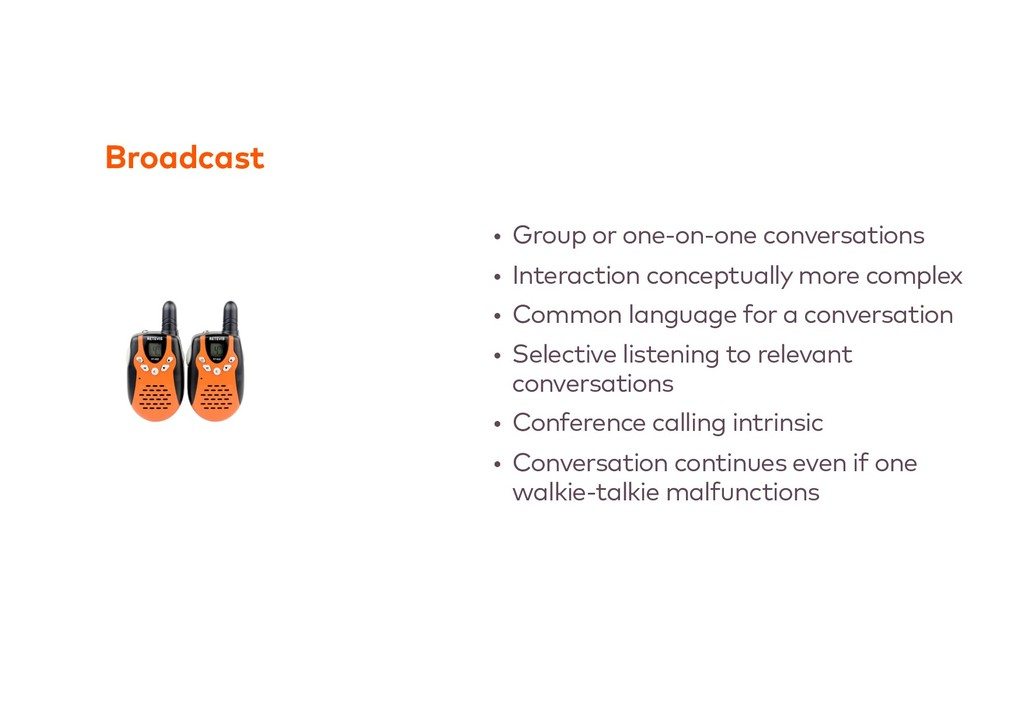Broadcast • Group or one-on-one conversations •...