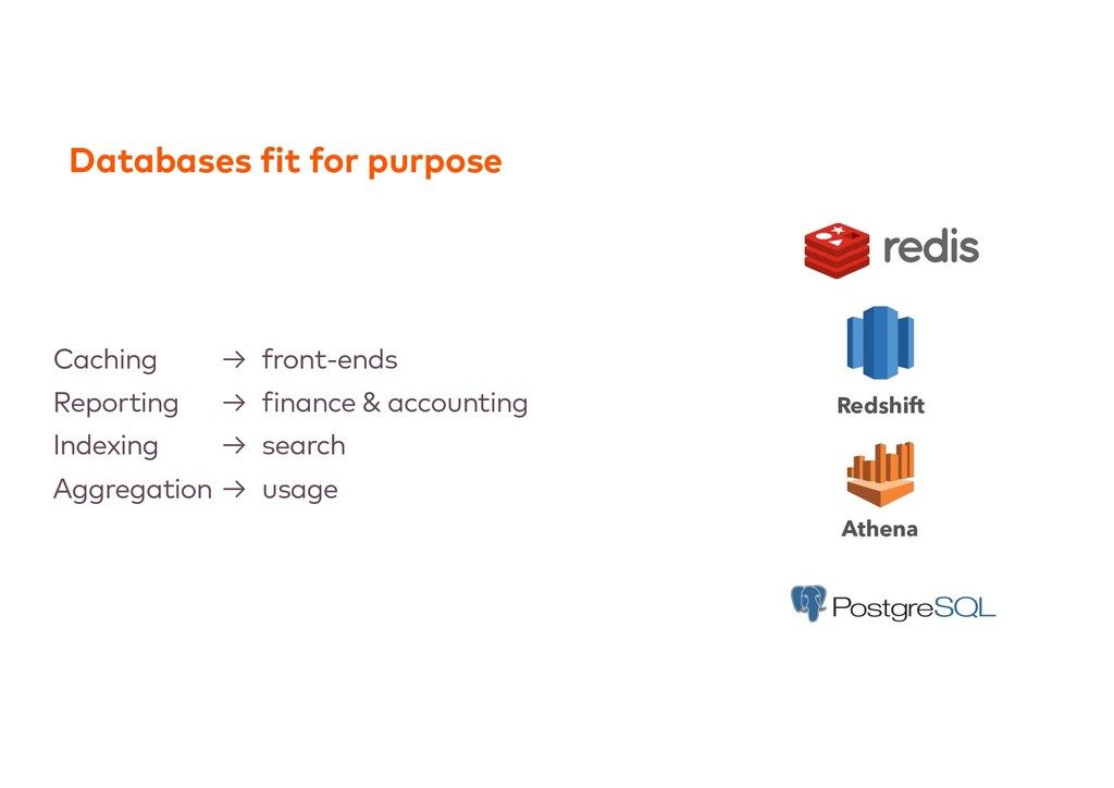 Databases fit for purpose Caching → front-ends ...