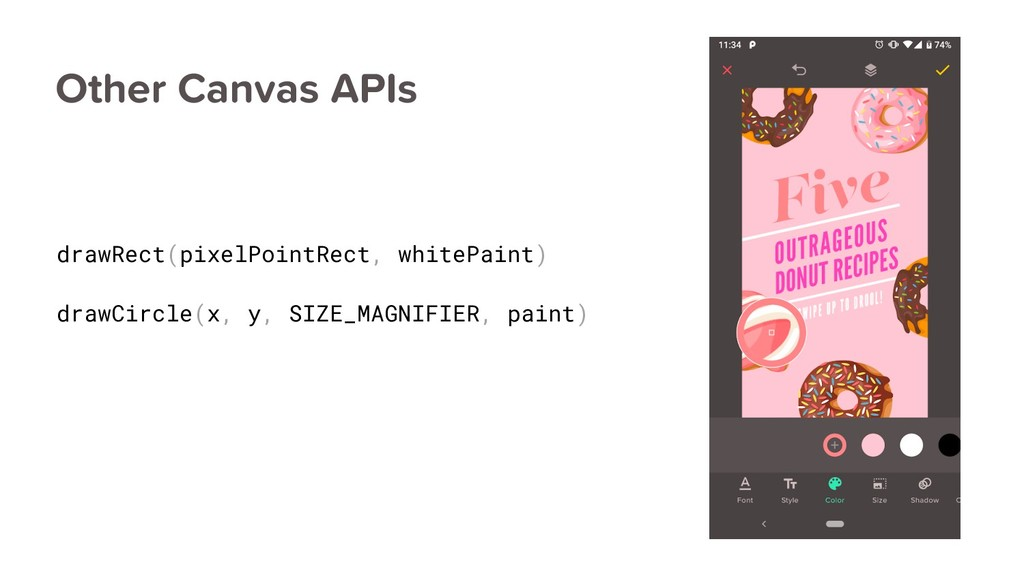 Other Canvas APIs drawRect(pixelPointRect, whit...