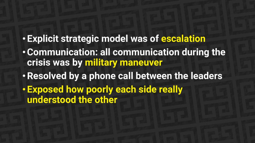 • Explicit strategic model was of escalation • ...