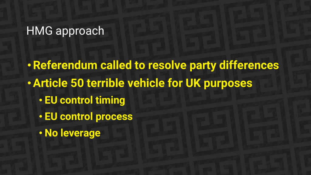HMG approach • Referendum called to resolve par...