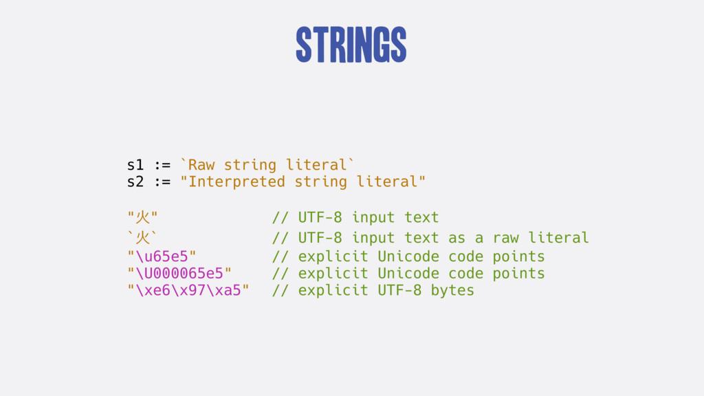 "Strings s1 := `Raw string literal` s2 := ""Inter..."
