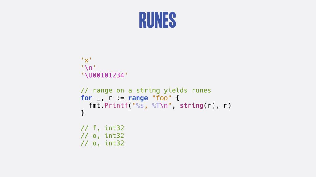 Runes 'x' '\n' '\U00101234' // range on a strin...