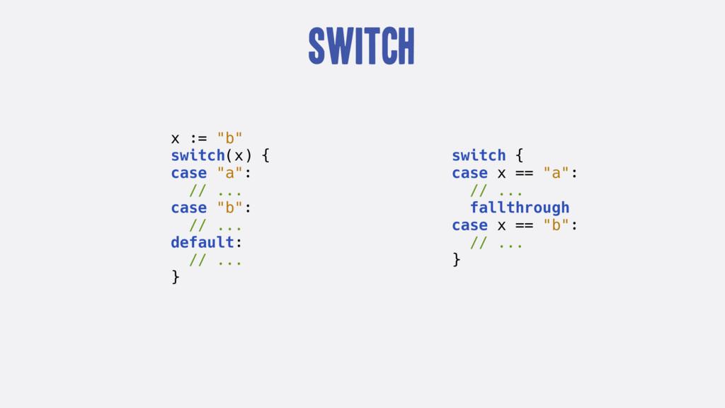 """Switch x := """"b"""" switch(x) { case """"a"""": // ... ca..."""