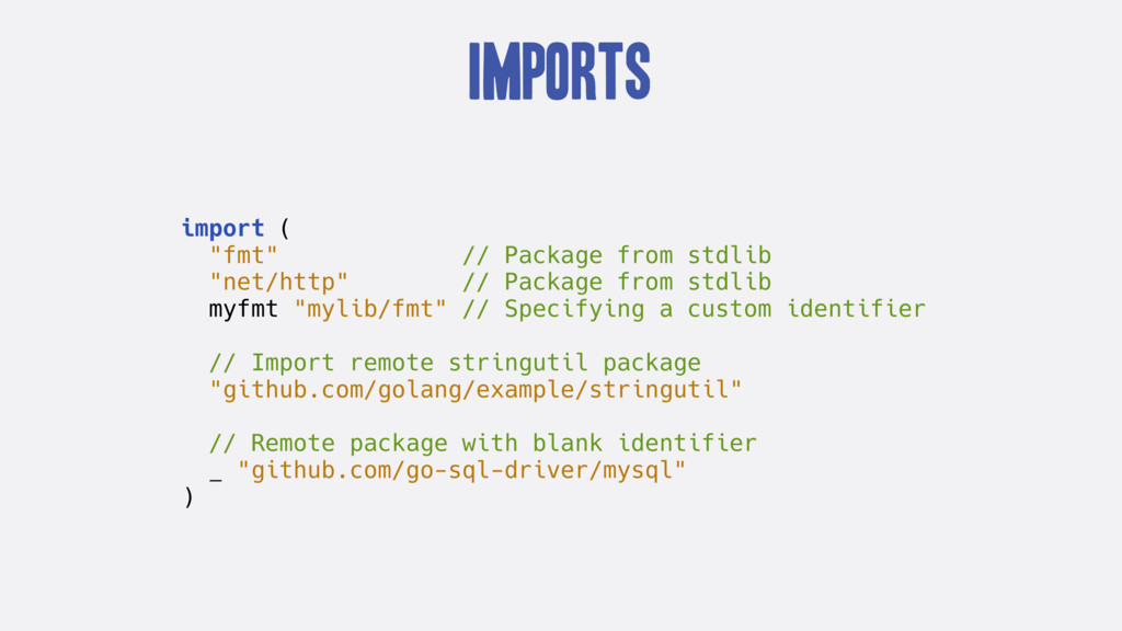 """Imports import ( """"fmt"""" // Package from stdlib """"..."""