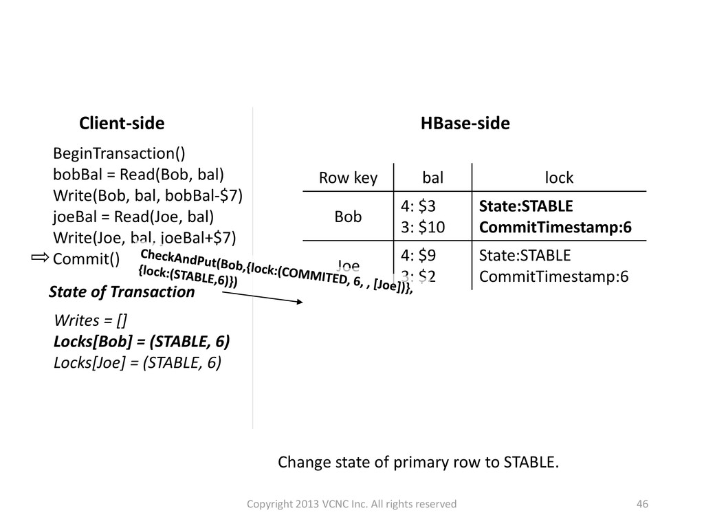 Change state of primary row to STABLE. HBase-si...