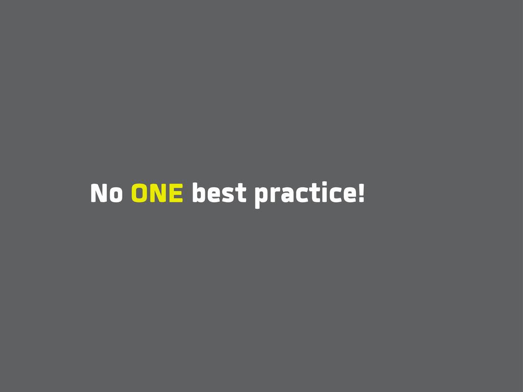 No ONE best practice!