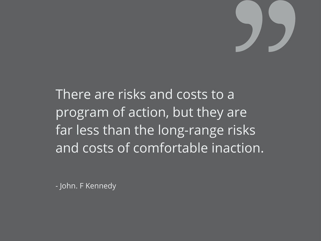There are risks and costs to a program of actio...