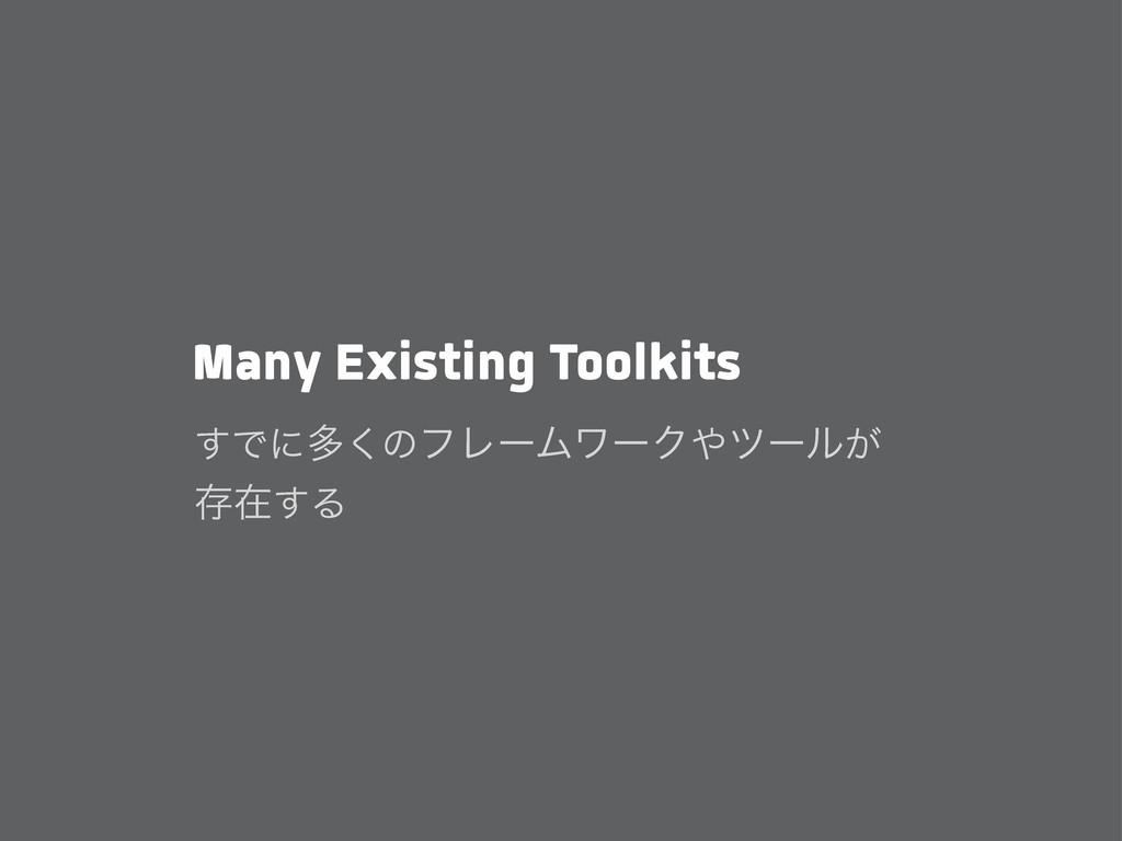 Many Existing Toolkits ͢Ͱʹଟ͘ͷϑϨʔϜϫʔΫπʔϧ͕ ଘࡏ͢Δ