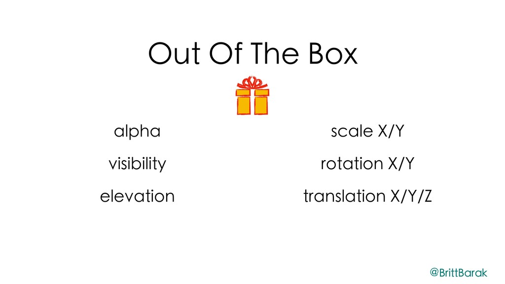 Out Of The Box alpha visibility elevation scale...